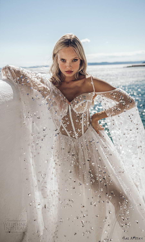 gal avitan 2021 bridal off shoulder long flare sleeves straps sweetheart neckline embellished sheer bodice a line wedding dress chapel train (1) zv