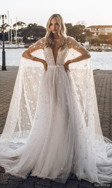 gal avitan 2021 bridal sleeveless straps plunging v neckline ruched bodice fully embellished a line wedding dress sheer cape chapel train (5) mv