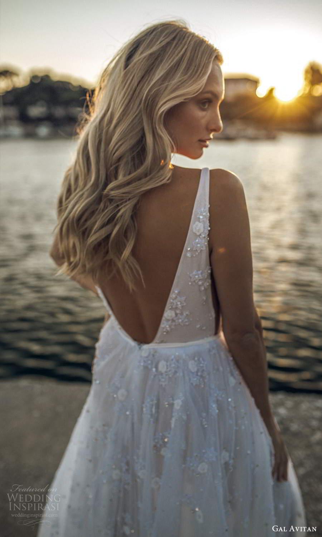 gal avitan 2021 bridal sleeveless straps plunging v neckline ruched bodice fully embellished a line wedding dress sheer cape v back (5) zbv