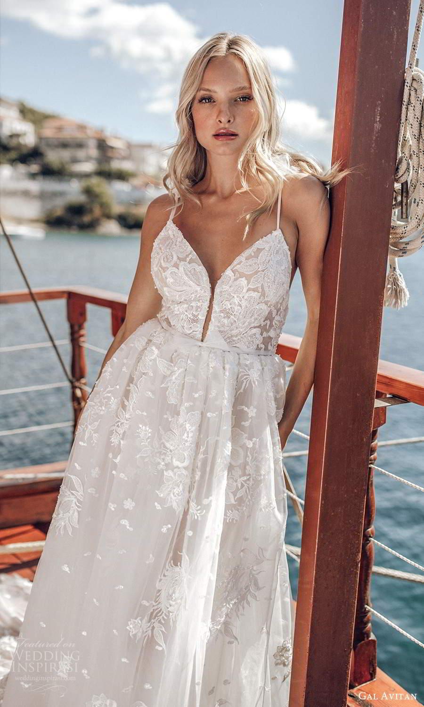 gal avitan 2021 bridal sleeveless straps sweetheart neckline fully embellished lace a line ball gown wedding dress (10) mv