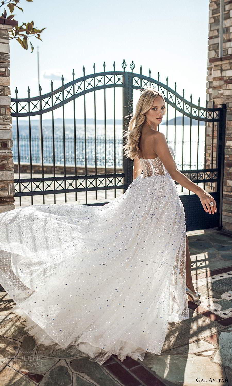 gal avitan 2021 bridal strapless sweetheart neckline fully embellished a line wedding dress chapel train slit skirt (3) bv