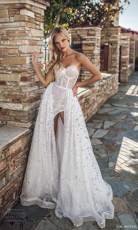 gal avitan 2021 bridal strapless sweetheart neckline fully embellished a line wedding dress chapel train slit skirt (3) mv