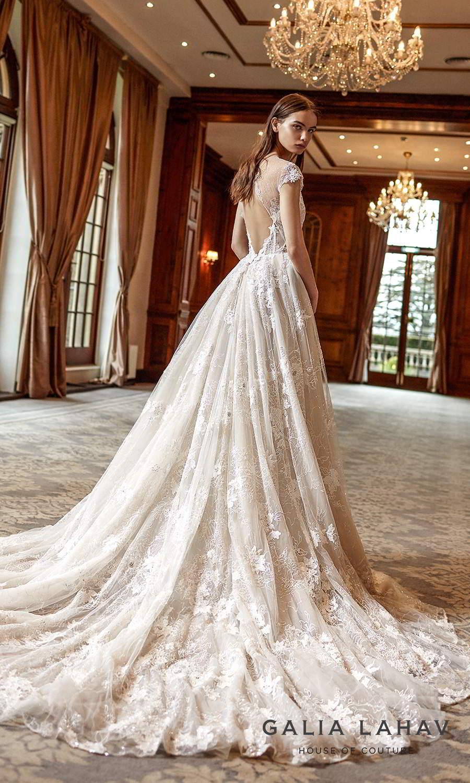 galia lahav fall 2021 bridal couture cap sleeve sweetheart neckline fully embellished lace a line ball gown wedding dress chapel train keyhole back (dorianne) bv