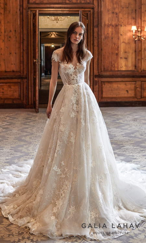 galia lahav fall 2021 bridal couture cap sleeve sweetheart neckline fully embellished lace a line ball gown wedding dress chapel train keyhole back (dorianne) mv