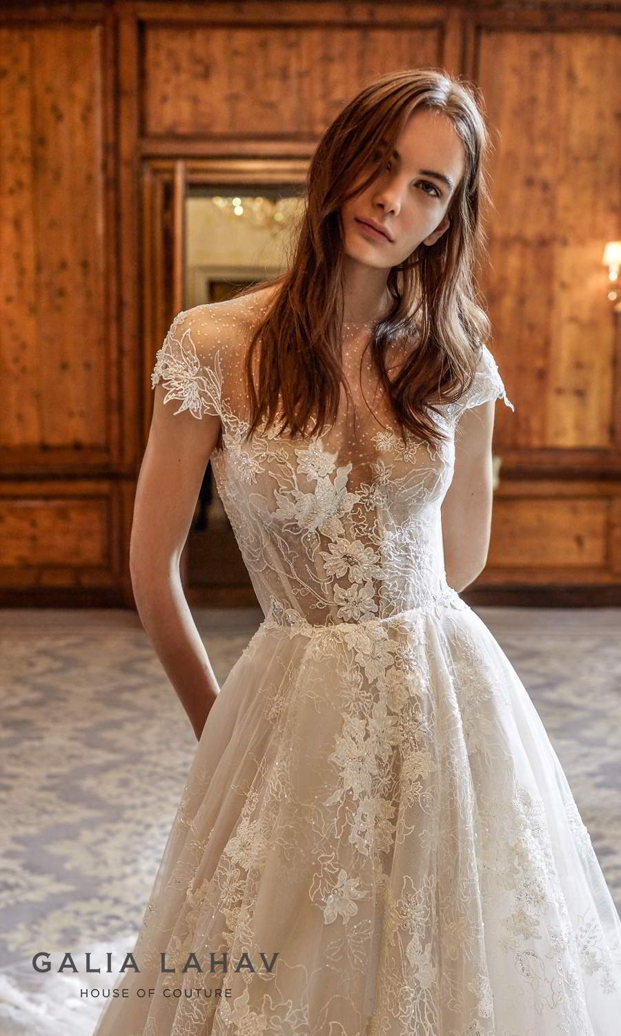 galia lahav fall 2021 bridal couture cap sleeve sweetheart neckline fully embellished lace a line ball gown wedding dress chapel train keyhole back (dorianne) zv