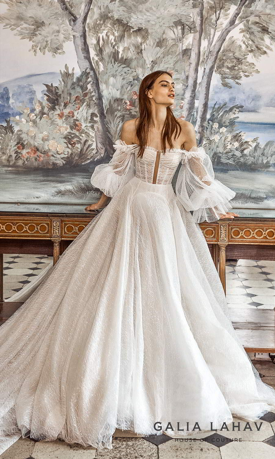 galia lahav fall 2021 bridal couture off shoulder bishop sleeves semi sweetheart neckline ruched bodice a line ball gown wedding dress chapel train (seraphina) mv