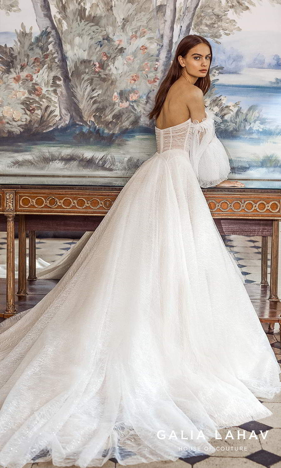 galia lahav fall 2021 bridal couture off shoulder bishop sleeves semi sweetheart neckline ruched bodice a line ball gown wedding dress chapel train (seraphina) sv