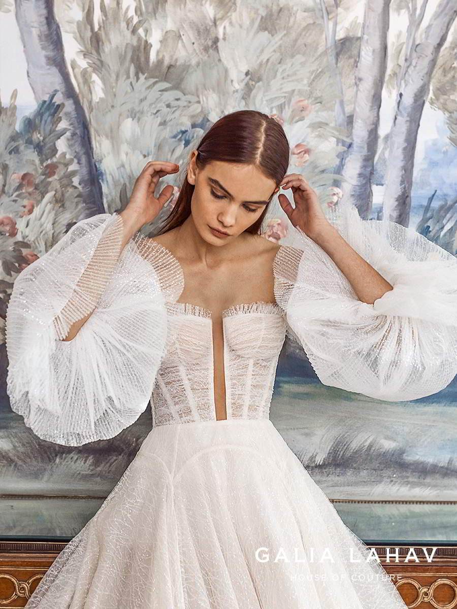 galia lahav fall 2021 bridal couture off shoulder bishop sleeves semi sweetheart neckline ruched bodice a line ball gown wedding dress chapel train (seraphina) zv