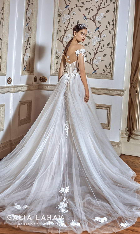 galia lahav fall 2021 bridal couture off shoulder straps sweetheart neckline embellished bodice a line ball gown wedding dress chapel train (ria) bv