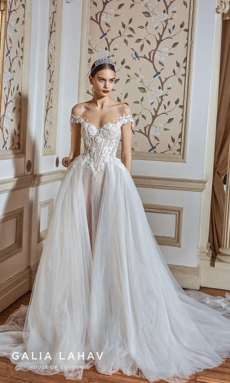 galia lahav fall 2021 bridal couture off shoulder straps sweetheart neckline embellished bodice a line ball gown wedding dress chapel train (ria) mv