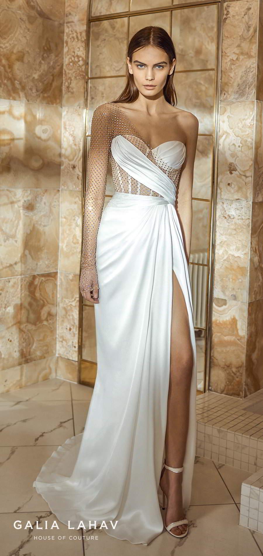 galia lahav fall 2021 bridal couture one shoulder long sheer sleeve asymmetric sweetheart neckline corset bodice clean modern sheath wedding dress sweep train (lais) mv