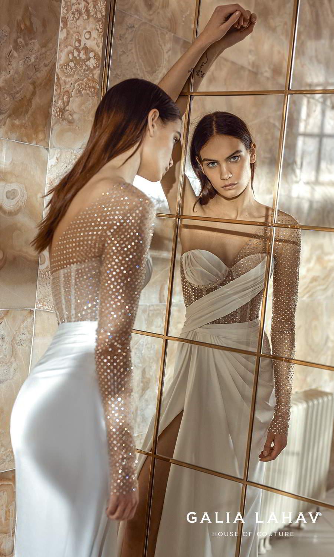 galia lahav fall 2021 bridal couture one shoulder long sheer sleeve asymmetric sweetheart neckline corset bodice clean modern sheath wedding dress sweep train (lais) zbv