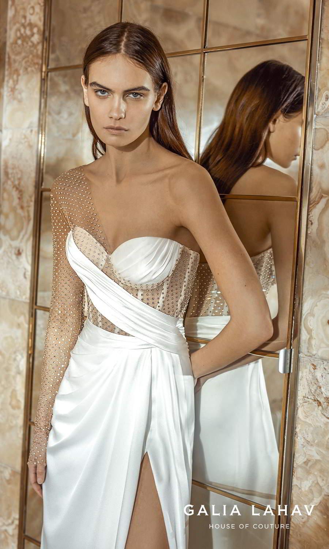 galia lahav fall 2021 bridal couture one shoulder long sheer sleeve asymmetric sweetheart neckline corset bodice clean modern sheath wedding dress sweep train (lais) zv
