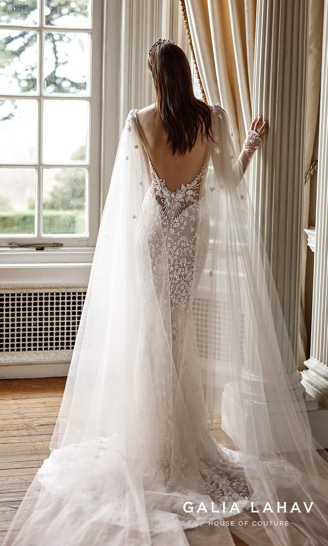 galia lahav fall 2021 bridal couture sheer long sleeves plunging v neckline fully embellished sheath wedding dress chapel train low back cape (donatella) bv