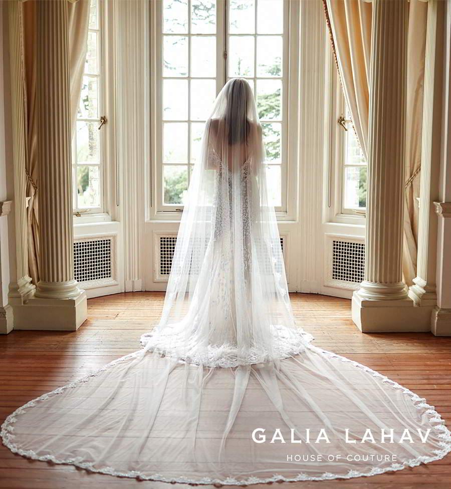 galia lahav fall 2021 bridal couture sheer long sleeves plunging v neckline fully embellished sheath wedding dress chapel train low back cape veil (donatella) bv