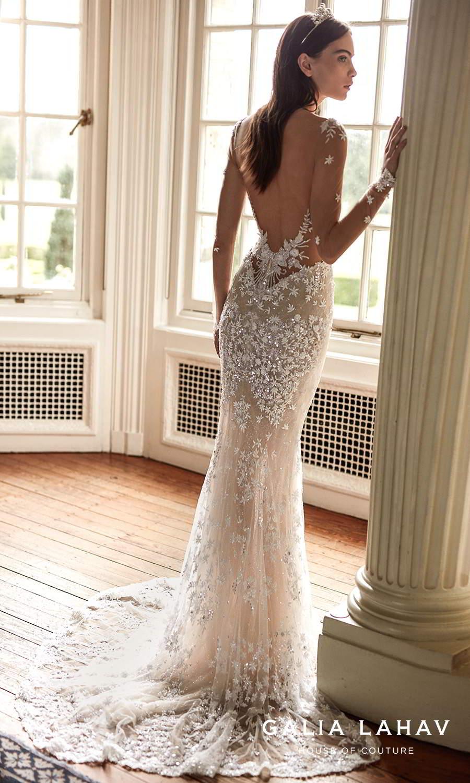galia lahav fall 2021 bridal couture sheer long sleeves plunging v neckline fully embellished sheath wedding dress chapel train low back (donatella) bv