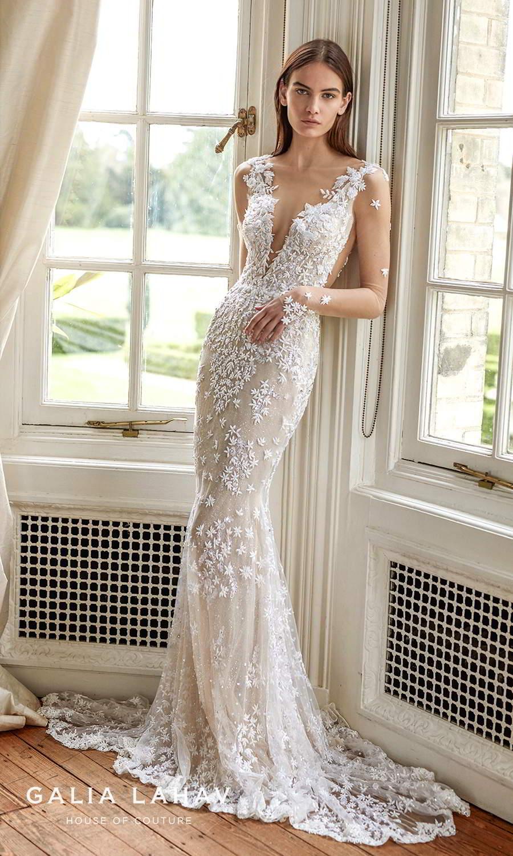 galia lahav fall 2021 bridal couture sheer long sleeves plunging v neckline fully embellished sheath wedding dress chapel train low back (donatella) mv
