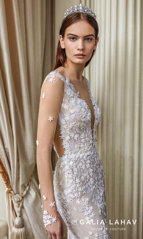 galia lahav fall 2021 bridal couture sheer long sleeves plunging v neckline fully embellished sheath wedding dress chapel train low back (donatella) zv