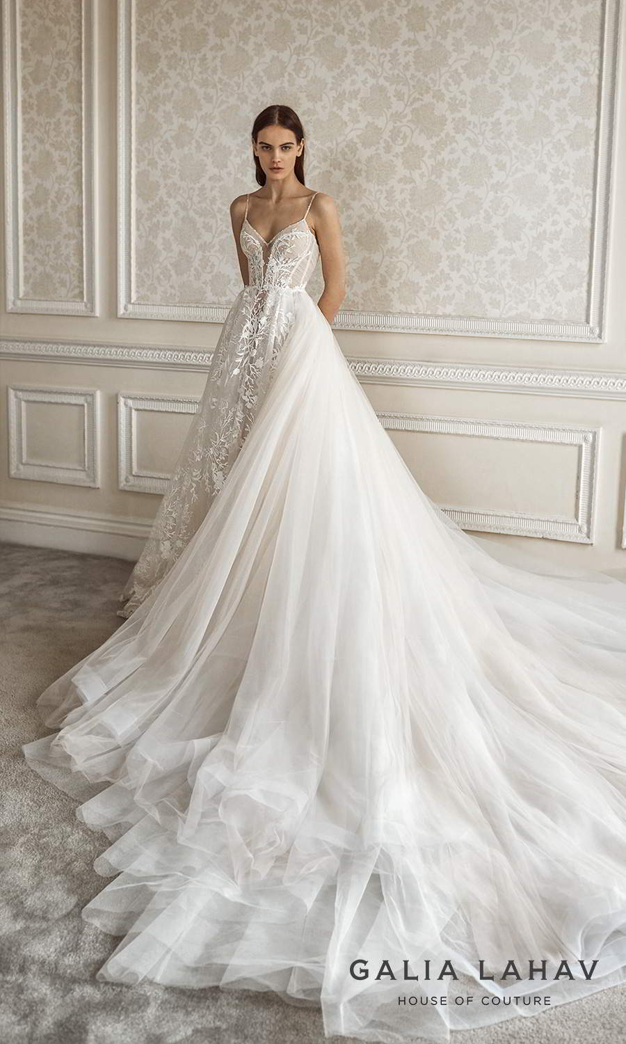 galia lahav fall 2021 bridal couture sleeveless beaded thin straps v sweetheart neckline fully embellished lace a line ball gown wedding dress chapel train cathedral overskirt (pavlova) bv