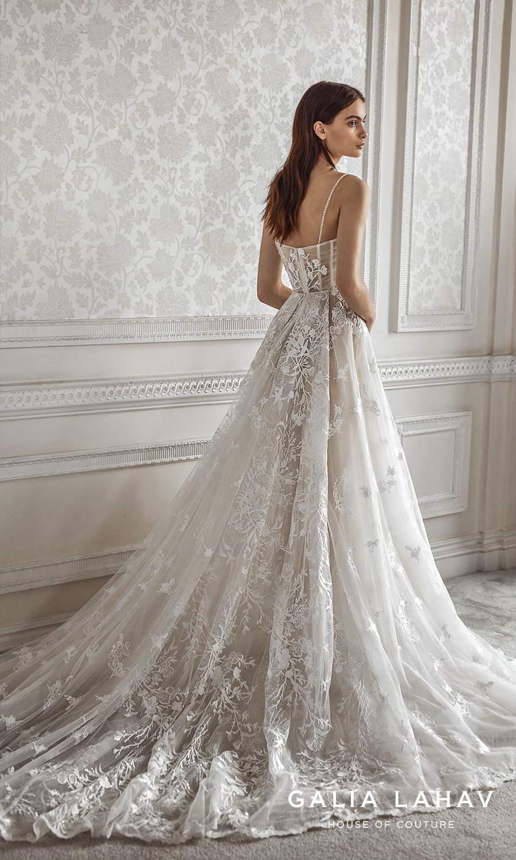 galia lahav fall 2021 bridal couture sleeveless beaded thin straps v sweetheart neckline fully embellished lace a line ball gown wedding dress chapel train (pavlova) bv