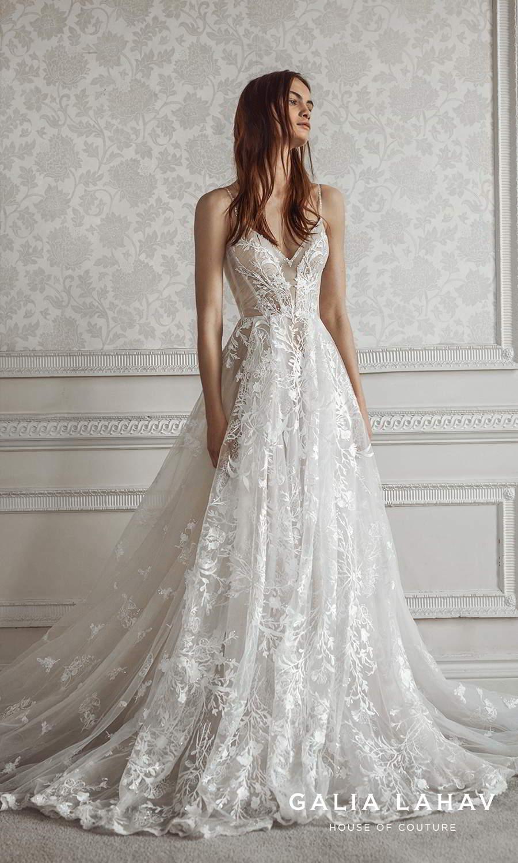 galia lahav fall 2021 bridal couture sleeveless beaded thin straps v sweetheart neckline fully embellished lace a line ball gown wedding dress chapel train (pavlova) mv