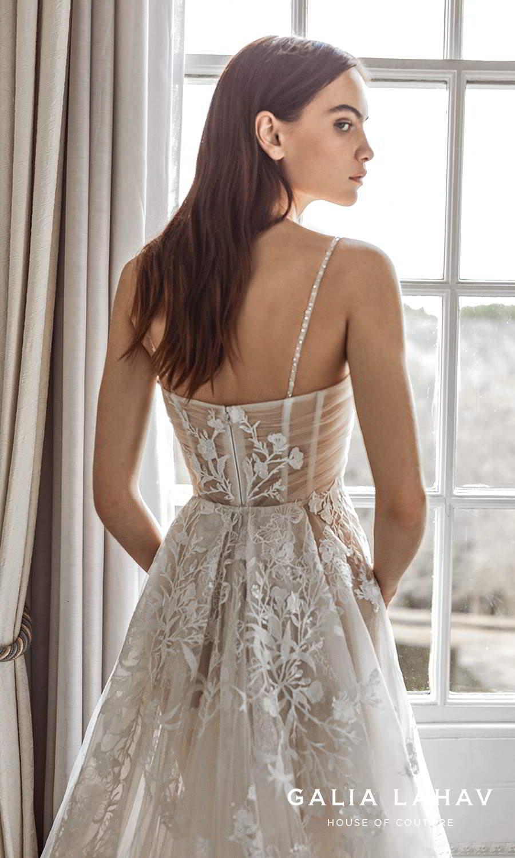 galia lahav fall 2021 bridal couture sleeveless beaded thin straps v sweetheart neckline fully embellished lace a line ball gown wedding dress chapel train (pavlova) zbv