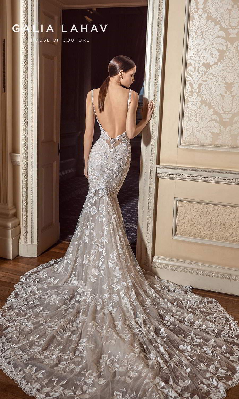 galia lahav fall 2021 bridal couture sleeveless straps plunging sweetheart neckline fully embellished lace sheath fit flare mermaid wedding dress chapel train blush low back (carla) bv