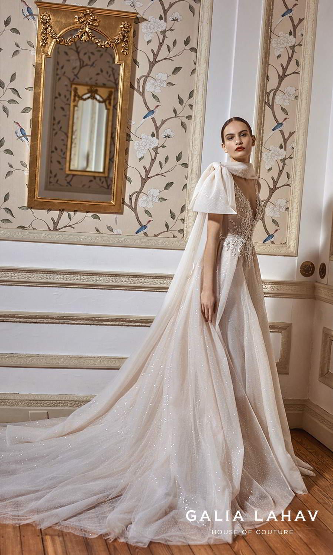 galia lahav fall 2021 bridal couture sleeveless straps plunging v neckline heavily embellished bodice glitter skirt a line ball gown wedding dress chapel train cape (celeste) sv