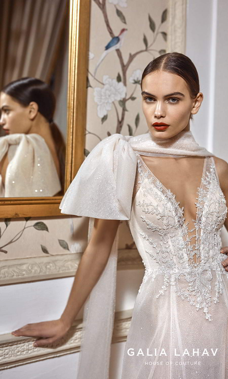 galia lahav fall 2021 bridal couture sleeveless straps plunging v neckline heavily embellished bodice glitter skirt a line ball gown wedding dress chapel train cape (celeste) zv