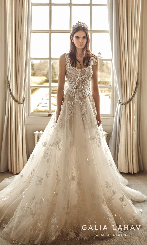 galia lahav fall 2021 bridal couture sleeveless straps square neckline fully embellished corset bodice a line ball gown wedding dress chapel train (sabrina) mv
