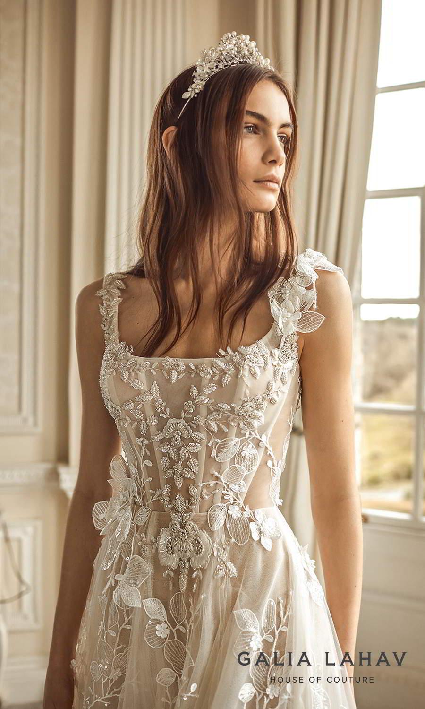 galia lahav fall 2021 bridal couture sleeveless straps square neckline fully embellished corset bodice a line ball gown wedding dress chapel train (sabrina) zv