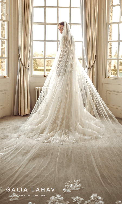galia lahav fall 2021 bridal couture sleeveless straps square neckline fully embellished corset bodice a line ball gown wedding dress chapel train veil (sabrina) bv