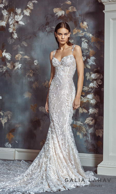 galia lahav fall 2021 bridal couture sleeveless straps sweetheart neckline fully embellished sheath wedding dress chapel train (margot) mv