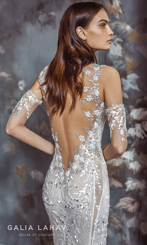 galia lahav fall 2021 bridal couture sleeveless straps sweetheart neckline fully embellished sheath wedding dress chapel train sheer open low back (margot) zbv