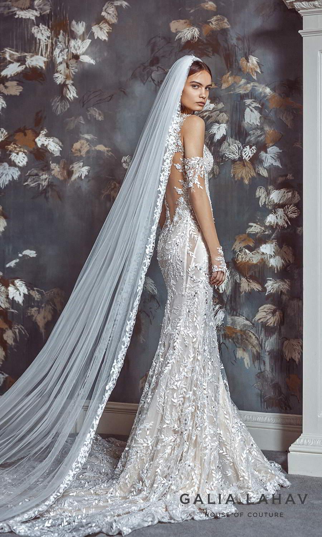 galia lahav fall 2021 bridal couture sleeveless straps sweetheart neckline fully embellished sheath wedding dress chapel train sheer open low back veil (margot) bv