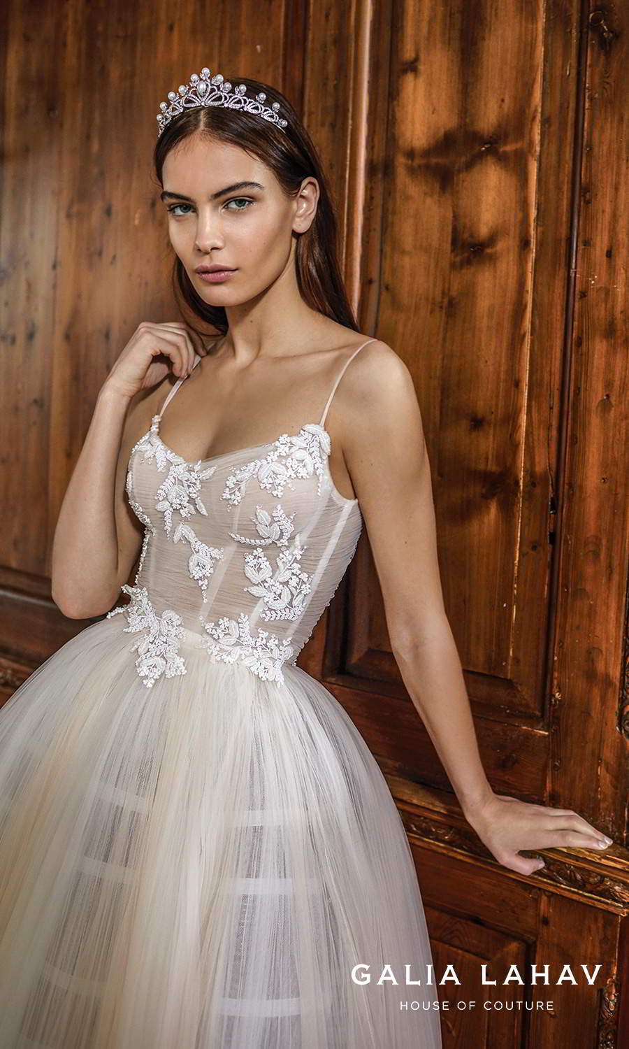 galia lahav fall 2021 bridal couture sleeveless thin straps semi sweetheart neckline embellished bodice a line ball gown wedding dress ombre blush champagne skirt chapel train (cherie) zv