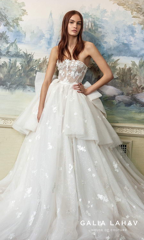 galia lahav fall 2021 bridal couture strapless semi sweetheart neckline tiered skirt fully embellished a line ball gown wedding dress chapel train (ballerina) mv
