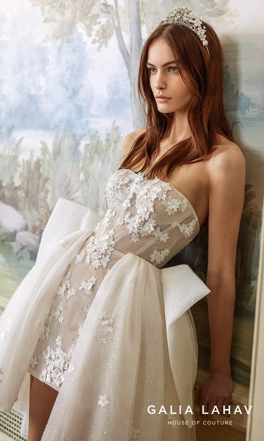 galia lahav fall 2021 bridal couture strapless semi sweetheart neckline tiered skirt fully embellished a line ball gown wedding dress chapel train (ballerina) zv