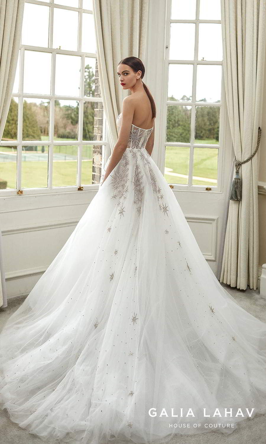galia lahav fall 2021 bridal couture strapless sweetheart neckline heavily embellished a line ball gown wedding chapel train (giovanna) bv