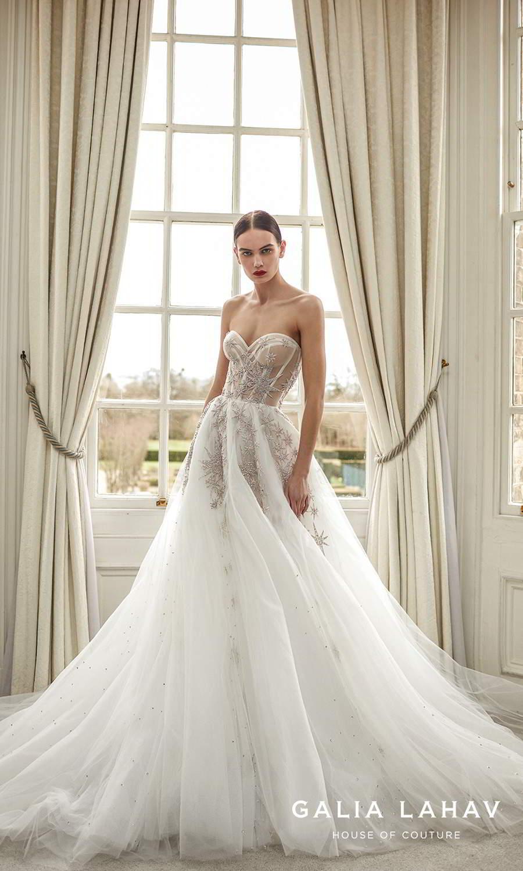 galia lahav fall 2021 bridal couture strapless sweetheart neckline heavily embellished a line ball gown wedding chapel train (giovanna) fv