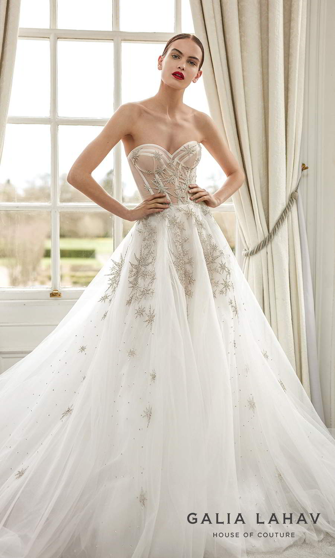 galia lahav fall 2021 bridal couture strapless sweetheart neckline heavily embellished a line ball gown wedding chapel train (giovanna) mv