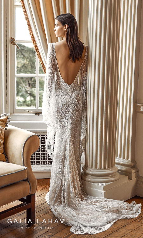 galia lahav fall 2021 bridal couture super long flare pagoda sleeves plunging v neckline fully embellished sheath wedding dress chapel train low back (idillya) mv