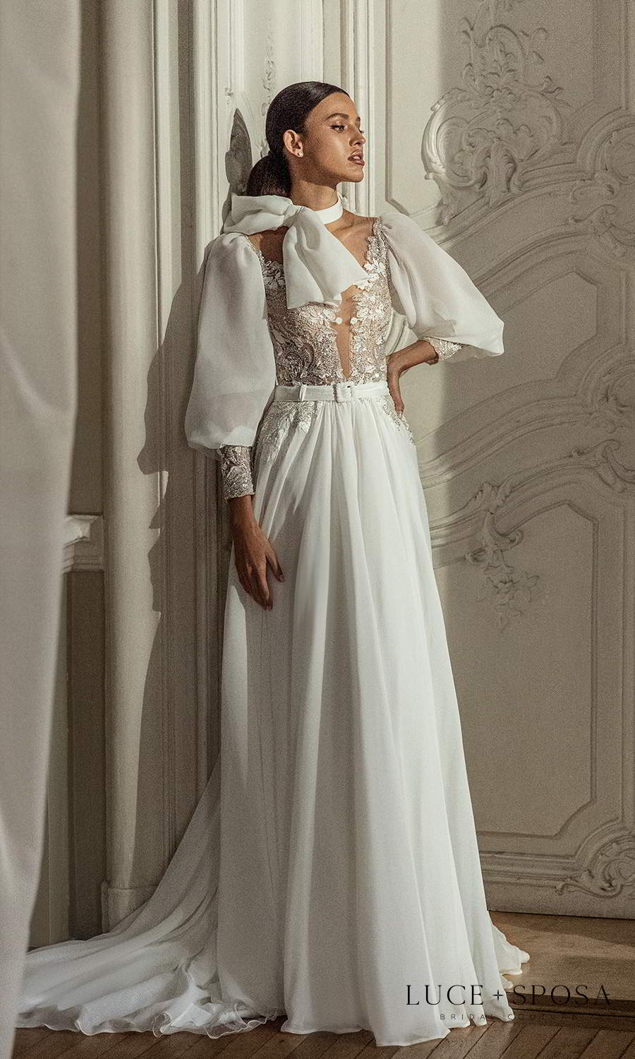 luce sposa 2021 shades of couture bridal bishop sleeves plunging v neckline heavily embellished bodice clean skirt a line wedding dress chapel train (aubrey) mv