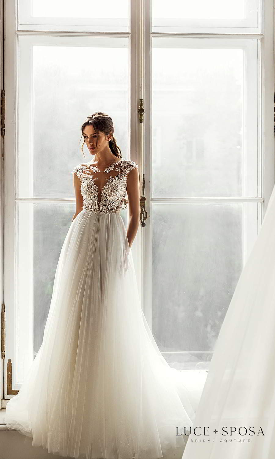luce sposa 2021 shades of couture bridal cap sleeves plunging sweetheart neckline heavily embellished bodice clean skirt a line ball gown wedding dress chapel train (genesis) mv