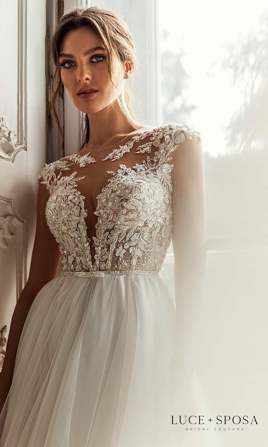 luce sposa 2021 shades of couture bridal cap sleeves plunging sweetheart neckline heavily embellished bodice clean skirt a line ball gown wedding dress chapel train (genesis) zv