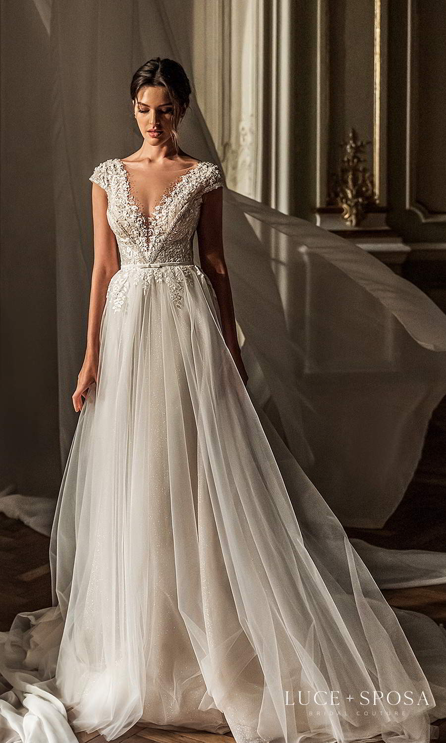 luce sposa 2021 shades of couture bridal cap v neckline heavily embellished bodice a line ball gown wedding dress (serenity) mv
