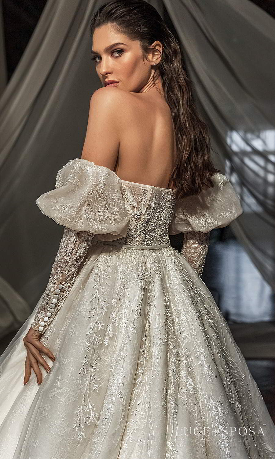 luce sposa 2021 shades of couture bridal detached long puff sleeves strapless sweetheart neckline fully embellished a line ball gown wedding dress chapel train (jordyn) zbv
