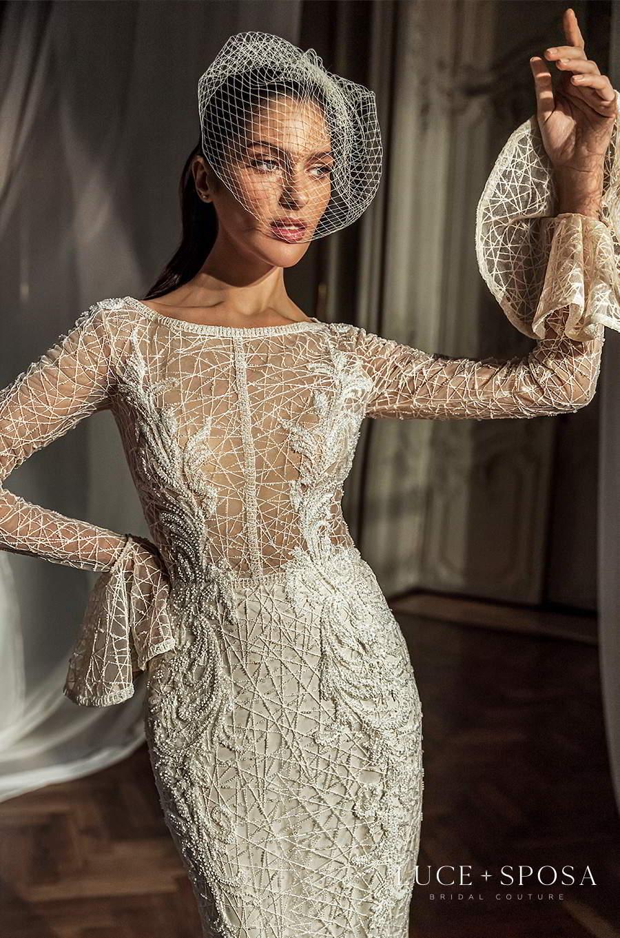 luce sposa 2021 shades of couture bridal flare long sleeves bateau neckline fully embellished sheath wedding dress (felisity) zv