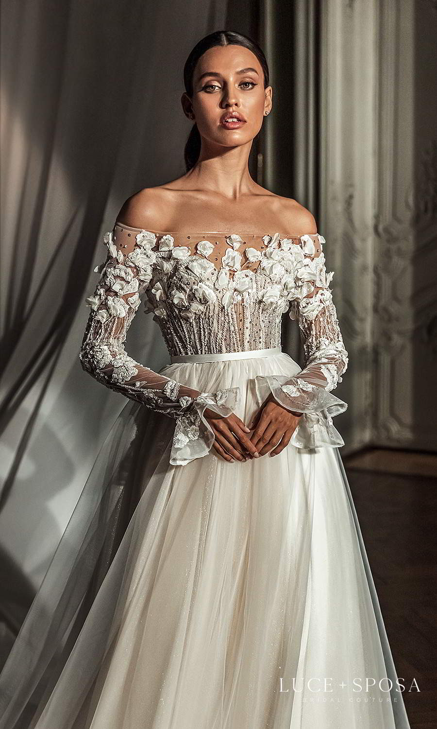 luce sposa 2021 shades of couture bridal flare long sleeves off shoulder straight across neckline heavily embellished bodice a line ball gown wedding dress chapel train (mackenzie) zv