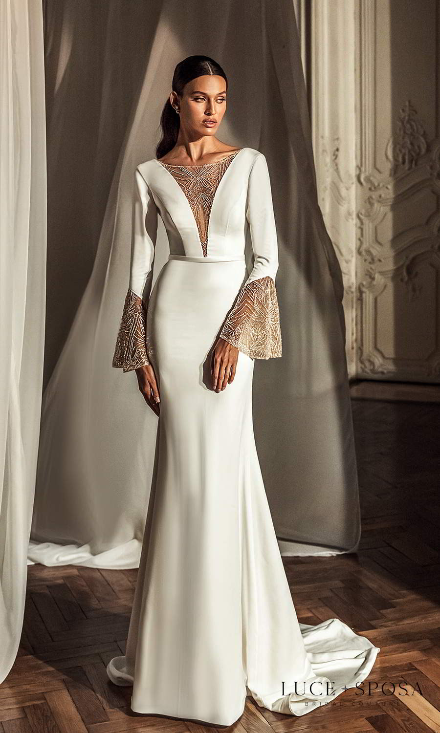 luce sposa 2021 shades of couture bridal flare sleeves plunging v neckline clean minimalist wedding dress chapel train scoop back (parker) mv